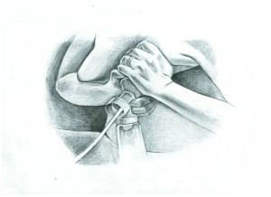Use your hands to compress and massage while single pumping.  Image copyright Beth Waldorf--All rights reserved